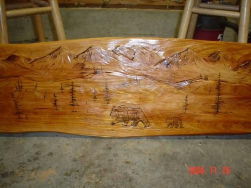 Wood Burned Bench Chainsaw Carving
