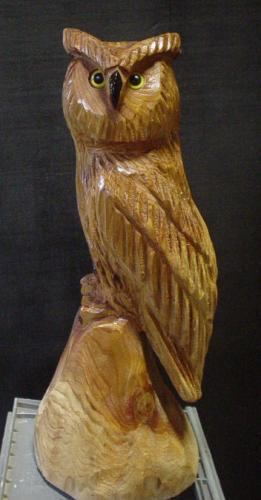 Great Horned Owl Clear Coat Chainsaw Art