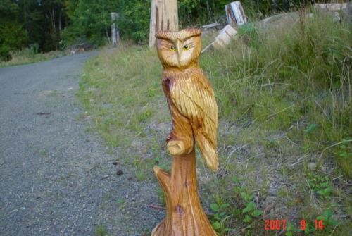 Owls Chain Saw Carving Sculpture