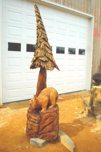 Bobcat Chain Saw Carving Sculpture