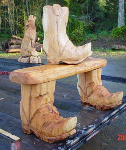 Boot Chain Saw Carving Sculpture