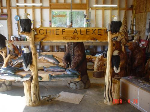 Chief Alexei Dutch Harbor Alaska Sign Chainsaw Carving