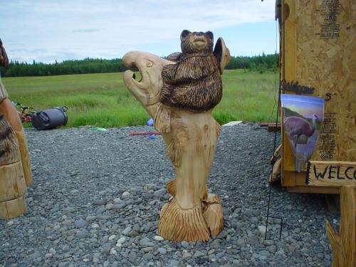 Coho Cowboy Bear Chainsaw Carving Sculpture