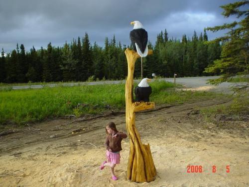 Double Eagle Tree Ten Foot Chainsaw Carving Sculpture