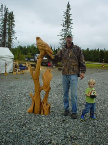 Cedar Double Eagle Tree Chainsaw Carving Sculpture