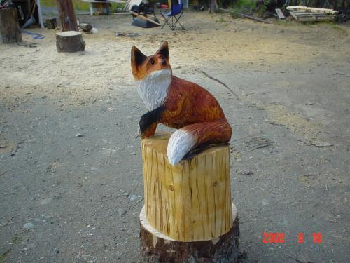 Red Fox Chainsaw Carving Sculpture