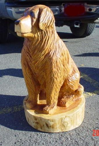 Dogs Chain Saw Carving Sculpture Golden Lab