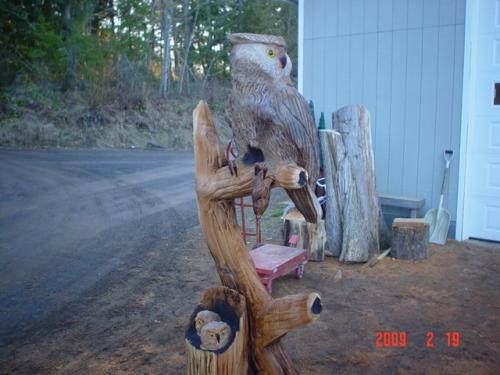 Great Horned Owl Chainsaw Carving