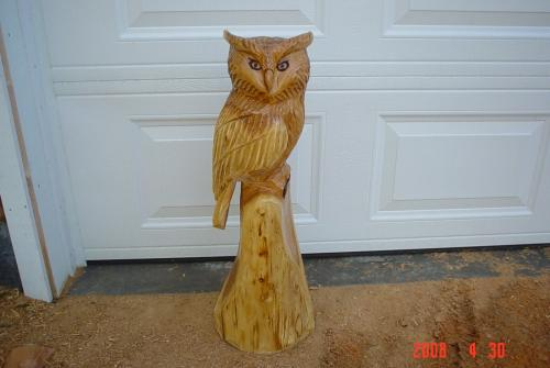 Small Great Horned Owl Chainsaw Carving