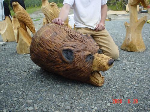 Growling Grizzly Head Chainsaw Carving