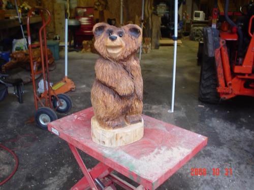 Happy Bear Chainsaw Carving