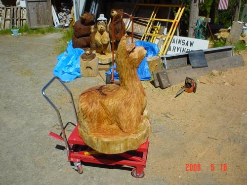 Alpaca Chain Saw Carving Sculpture