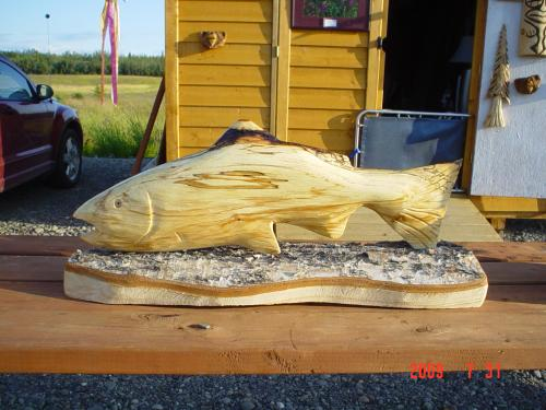 Fish chainsaw carving chain saw sculpture