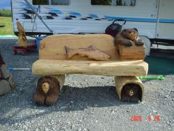 Three Bear Bench chainsaw carving