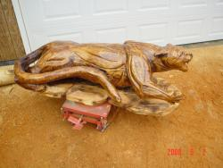 Life Size Cougar wood sculpture