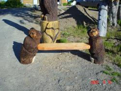 Bear Bench wood carving
