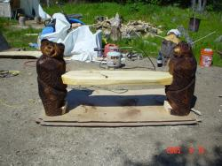 Small bear bench chainsaw carving