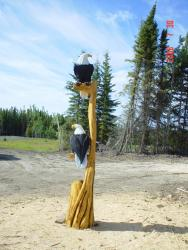 Double Eagle tree ten foot chainsaw carving