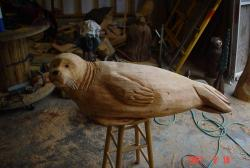 Small harbor seal chainsaw carved art
