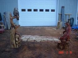 Owl and Fox bench chainsaw wood sculpture