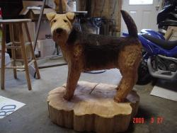 airdale dog chainsaw carving wood sculpture