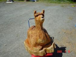 Alpaca chainsaw carving sculpture