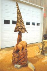 Bobcat side view chainsaw carved sculpture