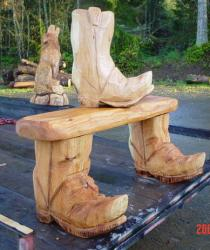 Boot Bench wood carving