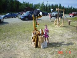 Sly Fishn eagle chainsaw carving wood sculpture