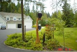 Double Eagle tree chainsaw carving wood sculpture