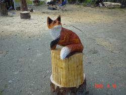 Red Fox chainsaw carving gift