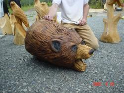 Bear Head wood carving