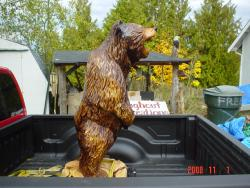 Growling Grizzly Bear five foot chainsaw carving