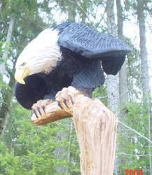 Launching eagle chainsaw carving