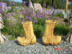 Logger Boots chainsaw carving