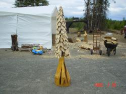 Clear spruce tree chainsaw carving wood sculpture