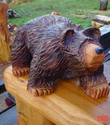 Walking Bear wood carving