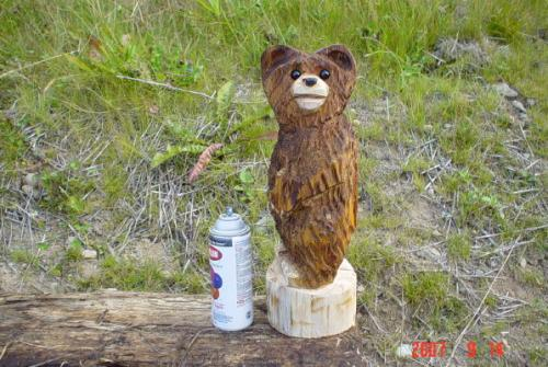 Miniature Bear Chainsaw Wood Carving