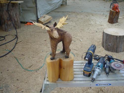 One Foot Tall Moose Chainsaw Carving Sculpture