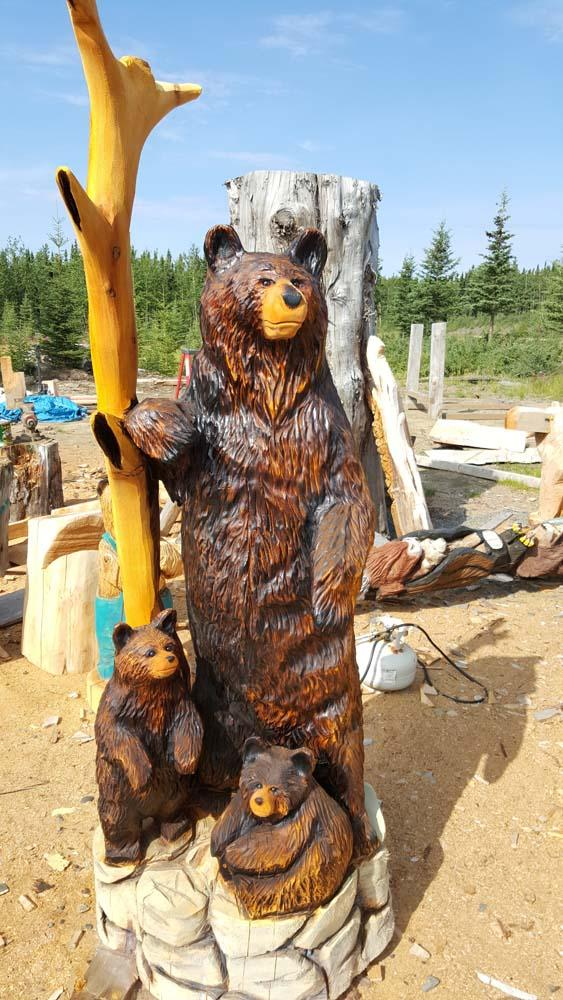 Bear chain saw carving sculpture thedreamerswoods