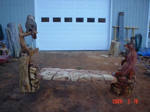 Fox Owl Bench Chainsaw Carving Back