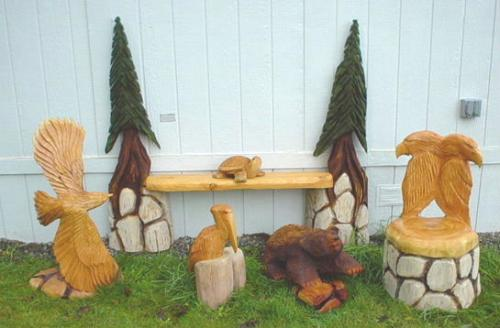 Pelicans Chain Saw Carving Sculpture