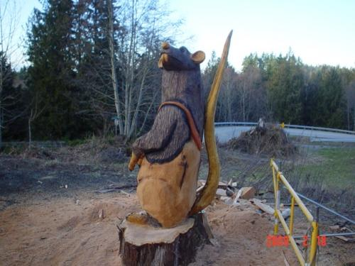 Rats Chainsaw Carving Sculpture Side View