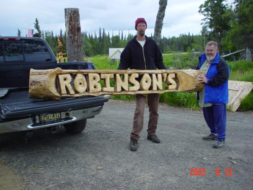Robinsons Sign Chainsaw Carving