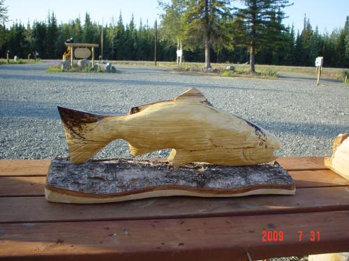 Spalted Birch Salmon Chainsaw Carving Sculpture